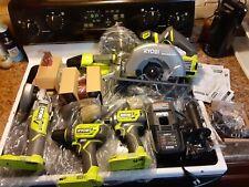 RYOBI 18-Volt ONE+ BRUSHLESS Cordless 5-Tool Combo Kit + 3 Batteries Charger Bag