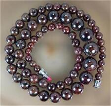 "Natural 5-12mm Garnet Gemstone Beads Necklace 17""##QF3289"