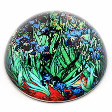 Van Gogh Irises Flowers Glass Desk Dome Paperweight Blue Green Vibrant