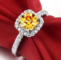 Solid 925 Sterling Silver in White Gold Filled Wedding Engagement Topaz Ring R39