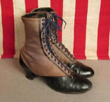 """Vintage Antique Leather Black/Gray Lace up Boots Victorian 9 1/2"""" Length 2-Tone"""