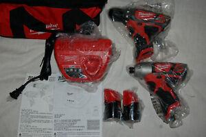 Milwaukee M12 2407-22 3/8 inch Cordless Drill Driver 2462-20 1/4 Impact Kit 12V