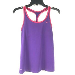 Nike Dri Fit Racerback Tank Women Size SP Purple Shelf Bra Red Trim Scoop
