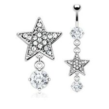 CLEAR GEM PAVED STAR BELLY RING DANGLE NAVEL 6MM CZ BUTTON PIERCING JEWELRY B240