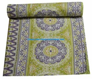 Throws Suzani Cotton Boho Bedspread Kantha Unique Handmade Ethnic Indian Quilt