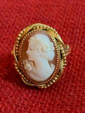 Vintage 10 K Yellow Gold Filled Cameo Ring Expandable Ring Size