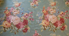Vintage Cottage Roses Mum Floral Cotton Fabric ~Sage Blue Yellow Blush Rose Wine