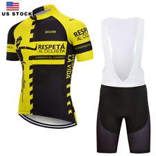 Men Short Sleeve Cycling Jersey 3D Pad Bib Shorts  Biking Jerseys Set Clothes