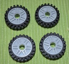 Tires ~ 4 Car/Truck Tires ~ Light Gray Spoked Rims ~ Technics ~ NEW ~ Lego