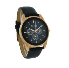 Caravelle by Bulova 44C104 Men's Rose Gold Tone Day & Date Black Leather Watch
