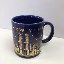 Vtg New York City Jay Joshua Souvenir Mug Pre 9/11 Twin Towers Skyline Blue/Gold