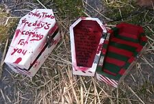 handpainted red& white Freddy blood-splatter halloween wooden coffin trinket box