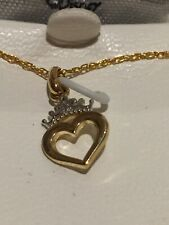 NEW 14K GOLD DISNEY PRINCESS CROWN HEART 18 INCH NECKLACE $250