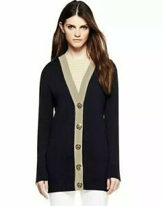 Tory Burch Simone Navy Long Cardigan