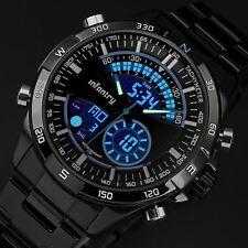 INFANTRY Mens Digital Quartz Wrist Watch Date Chrono Black Stainless Steel Sport