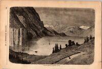 Antique Original 1881 Midnight Scene in Northern Norway, Etching Engraving Print