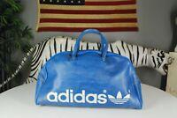 Vintage 70s Adidas Trefoil Gym Workout Duffle Bag THICK Leather Yugoslavia Blue