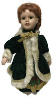 """Antique Porcelain Doll Red Head 15"""" Tall  Green Eyes"""