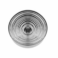 14pcs Stainless Steel Round Cookie Moulds Practical Kitchen Biscuit Cutters