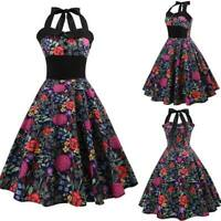 Swing Evening Sleeveless Dresses Retro floral halter Dress vintage Summer women