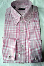 $665 NWT TOM FORD Pink White Graph Check15.75 40 TAB collar cotton dress shirt