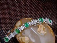 10 Ct Oval Cut Emerald & Diamond Tennis Bracelet For Women's 14K White Gold Over