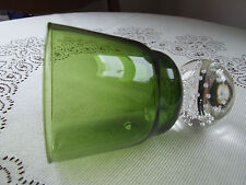Murano Green Glass Vase With Clear Round Bubble Base. 13cm (5 1/8 inch) tall