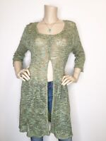 New Nic + Zoe Large Blue Green Button Cardigan Duster 3/4 Sleeve Silk Sweater