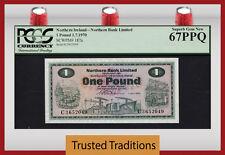 TT PK 187a 1970 IRELAND - NORTHERN 1 POUND PCGS 67 PPQ SUPERB POP 5 NONE FINER!