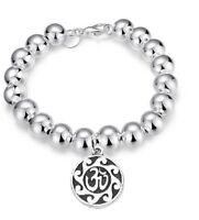 Valentine's Sterling Womens Silver Beaded Opulent Yoga Bracelet Bangle + Gift Pk