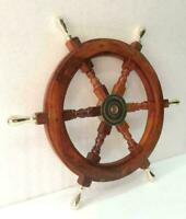 """Vintage Boat Ships Captains Nautical Wooden 18"""" Wheel Brass Handle Wall Decor"""
