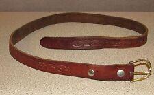 Vintage Tooled Brown Leather Cowboy Ranch Western Jeans Belt Men's Size 36