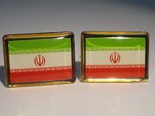 Iran Flag Cufflinks--Iranian Islamic Muslim Middle Eastern Persian Tehran