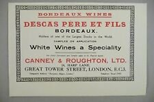 Descas Pere et Fils Bordeaux Wine PRINT AD - 1928 ~~ Canney & Roughton