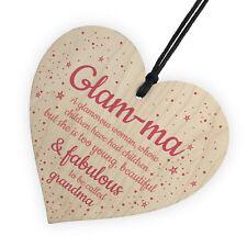 Glam-ma Grandma Wooden Heart Love Sign NANNY NAN GRANNY GRAN Keepsake Gift