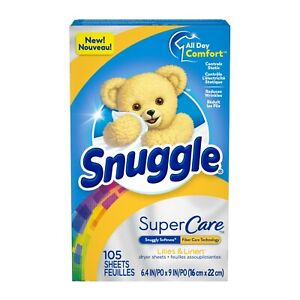 Snuggle SuperCare Fabric Softener Dryer Sheets, Lilies and Linen, 105 sheets