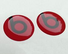 BEATS AUDIO BLACK on RED 3D domed sticker badge 25mm size (Set of 2)