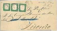 SARDEGNA - Sassone 13E TRITTICO su BUSTA : PONTEDERA 1863