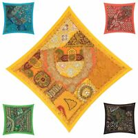 "Fair Trade Patchwork Cushion Cover 16""x16"" 40x40cm Embroidery Sari Heavy Square"