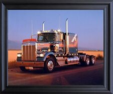 Kenworth At Dusk Diesel Big Rig Truck Wall Black Framed Picture Art Print 19x23