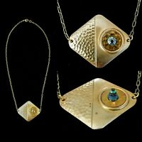 Vintage Egyptian Revival 3D Pyramid Crystal Color Change Evil Eye Necklace