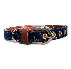 "Blue Denim Style Dog Collar / Lead Sets Brown Puppy Fabric, 8.5 - 11"" New w/tag"
