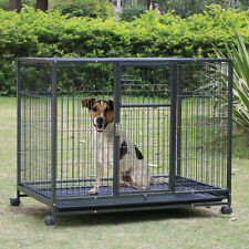 """43"""" Dog Crate Kennel -Heavy Duty Pet Cage Playpen w/ Metal Tray Exercise Pan"""