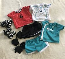 American Girl Soccer Uniform Outfit Doll Clothes Cleats Shin Guards Two Sets