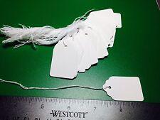 "1000 Lot WHITE Strung Merchandise Price Tags #5 Sales Retail 1-1/16"" x 1-5/8"""