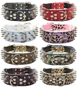 Spiked Studded Dog Collar Leather Dog Collars for Medium & Large Dogs Pit Bull