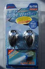 Car Windscreen Window Washer Windshield Wide Spray Adjustable Nozzle Blue L.E.D.