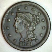 1851 Braided Hair Large Cent Copper US Type Coin Extra FINE 1c XF Penny M6