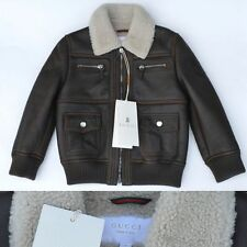 GUCCI New sz 3 Y 3Y Authentic Winter Boys Girls Shearling Leather Coat Jacket