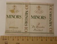 OLD CIGARETTE PACKET BOX LABEL, 1950s DE RESZKE MINORS 10 PACK, LONDON